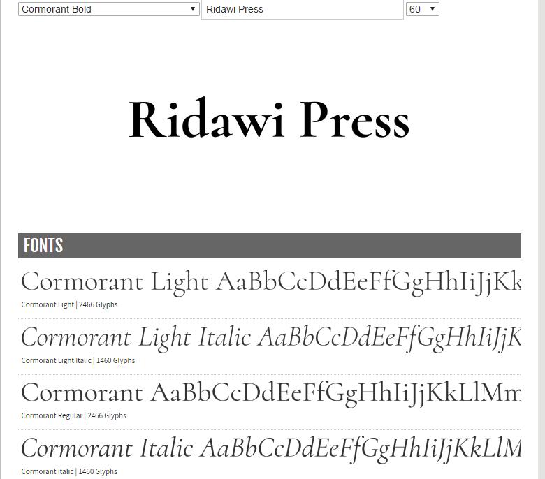 fonts etc  for self-publishing  